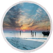 Sunset Seascape And Beautiful Clouds Round Beach Towel