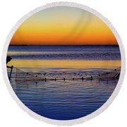 Sunset Seining On Copano Bay Round Beach Towel