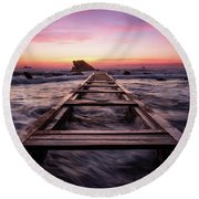 Sunset Shining Over A Wooden Pier In Livorno, Tuscany Round Beach Towel