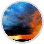 Round Beach Towel featuring the photograph Sunset Storm by Candice Trimble