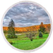 Round Beach Towel featuring the photograph Sunset Storm Rainbow - Upstate New York by Lynn Bauer