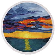 Sunset Streak Round Beach Towel