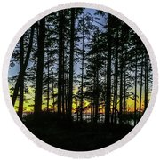 Round Beach Towel featuring the photograph Sunset Thru The Trees by Ed Clark