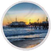 Sunset Under The Pier Round Beach Towel