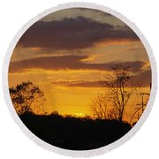 Sunset With Electricity Pylon Round Beach Towel