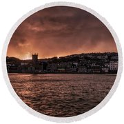 Sunset Harbour Round Beach Towel
