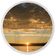 Sunset's Golden Rays Round Beach Towel