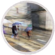 Round Beach Towel featuring the photograph Sunshower On The Stairs by Alex Lapidus