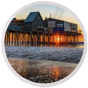Round Beach Towel featuring the photograph Sunstar At Pier Patio Old Orchard Beach by Dan Sproul