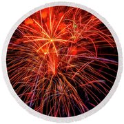 Super Holiday Fireworks Round Beach Towel