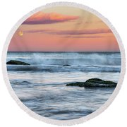 Super Moon And Sunset At Sozopol Town Beach Round Beach Towel