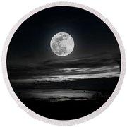 Super Worm Equinox Full Moon Round Beach Towel