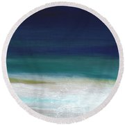 Surf And Sky- Abstract Beach Painting Round Beach Towel