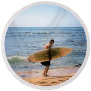 Surf And Solitude Round Beach Towel
