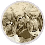 Surf Girls - Sepia Round Beach Towel