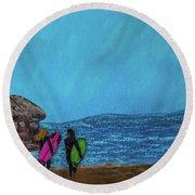 Surfer Girls Round Beach Towel