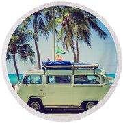 Surfer Van Round Beach Towel