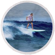 Surfing Andy Round Beach Towel