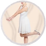 Surprised Housewife Kicking Up Leg In White Dress Round Beach Towel
