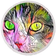 Surreal Cat Wild Eyes Round Beach Towel