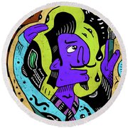 Round Beach Towel featuring the digital art Surreal Painter by Sotuland Art