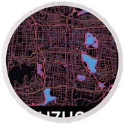 Suzhou City Map Round Beach Towel