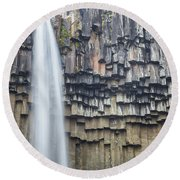 Round Beach Towel featuring the photograph Svartifoss Portrait Iceland by Nathan Bush