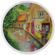 Round Beach Towel featuring the painting Swan Canal by Karen Fleschler