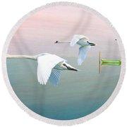 Swans At Sunrise Round Beach Towel