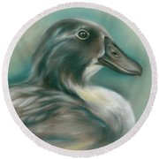 Round Beach Towel featuring the pastel Swedish Blue Duck by MM Anderson