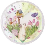 Sweet Heart Bunny And Butterfly Round Beach Towel