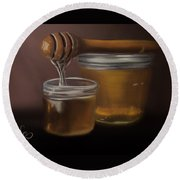 Round Beach Towel featuring the painting Sweet Honey by Fe Jones