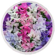 Sweet Pea Spencer Mix Flowers Round Beach Towel