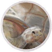 Round Beach Towel featuring the digital art Sweet Tortoise by Fe Jones