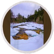Swift River Winter  Round Beach Towel