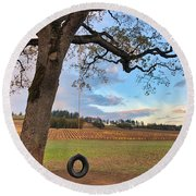 Round Beach Towel featuring the photograph Swing In Tree by Brian Eberly