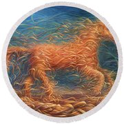 Swirly Horse 1 Round Beach Towel