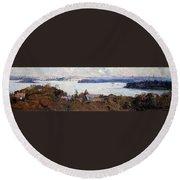 Sydney Harbour From Penshurst, Cremorne - Digital Remastered Edition Round Beach Towel