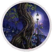 Sylvia And Her Lamp At Dusk Round Beach Towel
