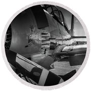 T-28b Trojan In Bw Round Beach Towel