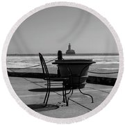 Table For One Bw Round Beach Towel