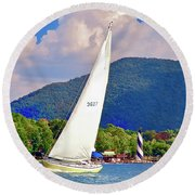 Tacking Lighthouse Sailor, Smith Mountain Lake Round Beach Towel