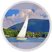 Tacking Lighthouse Sailor, Smith Mountain Lake Round Beach Towel