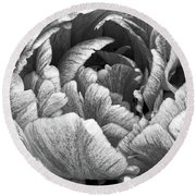 Taking In The Open Air Black And White Round Beach Towel