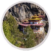 Taktsang Monastery  Round Beach Towel