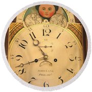 Tall Case Clock Face, Around 1816 Round Beach Towel
