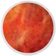 Tangerine Nebula Cloud Round Beach Towel