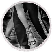 Tango Of Feet Round Beach Towel