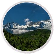 Round Beach Towel featuring the photograph Tantalus Mountain Range by Jon Burch Photography