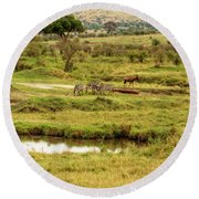 Round Beach Towel featuring the photograph Tanzania Animal Landscape by Kay Brewer